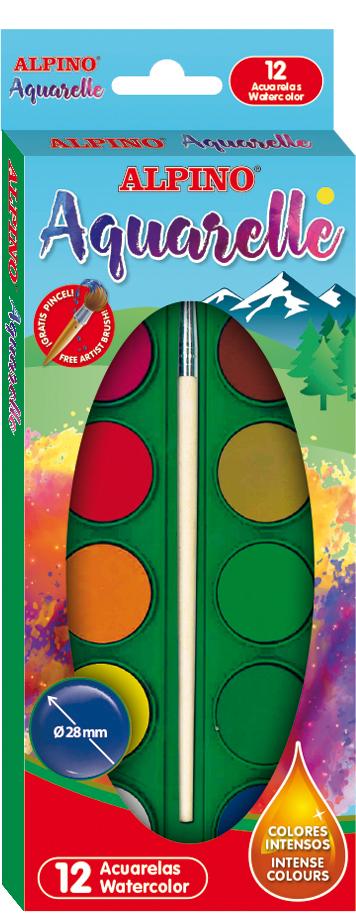 Acuarele Alpino 12 culori/cutie + pensula gratis