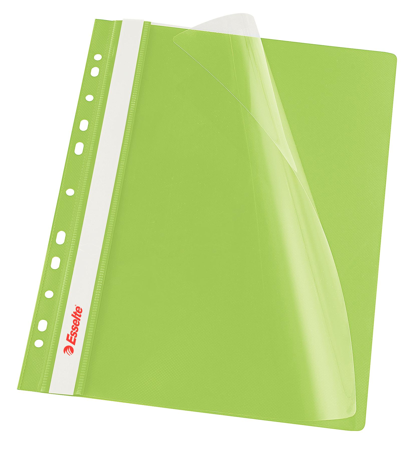 Dosar PP, cu sina si multiperforatii, ESSELTE Vivida, A4, 10 buc/set - verde