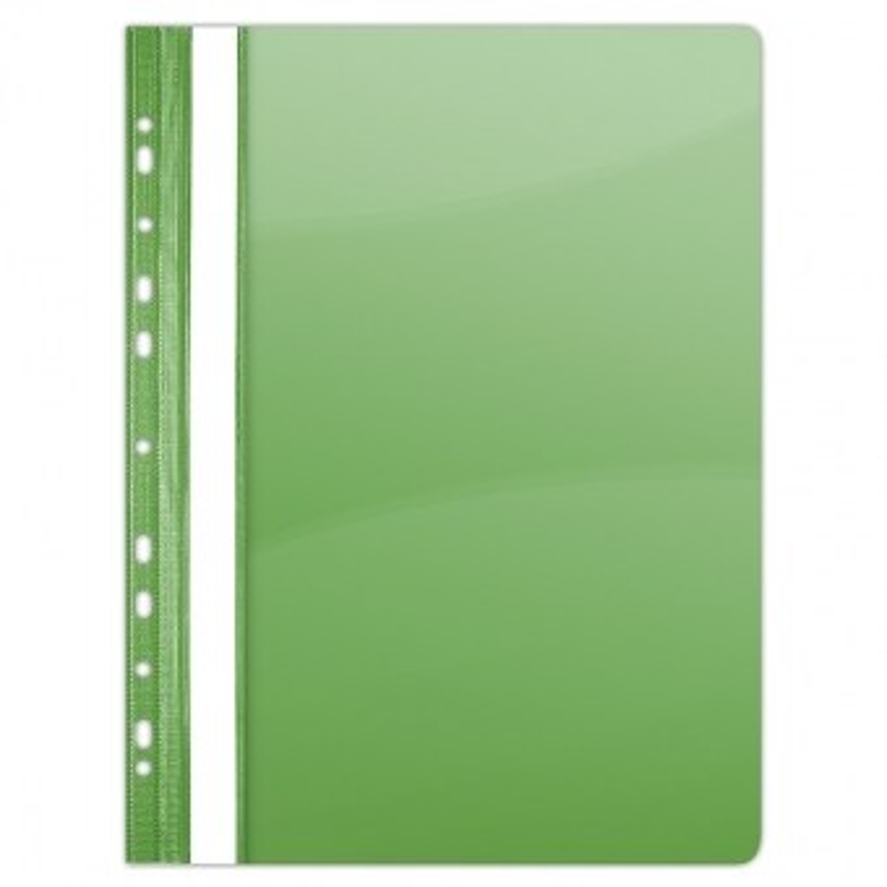 Dosar plastic PVC, cu sina si multiperforatii, 10 buc/set, DONAU - verde