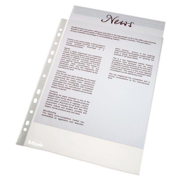 Folie protectie ESSELTE, standard, A4, 43 mic, 100 folii/set