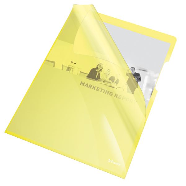 Mapa de protectie ESSELTE, A4, cristal, 150 microni, 25 buc/set - galben