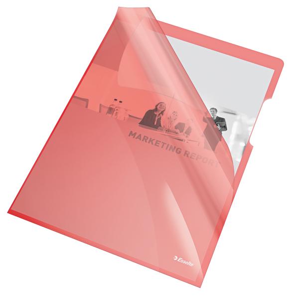 Mapa de protectie ESSELTE, A4, cristal, 150 microni, 25 buc/set - rosu