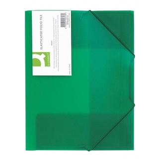 Mapa plastic cu elastic pe colturi, 400 microni, Q-Connect - verde transparent