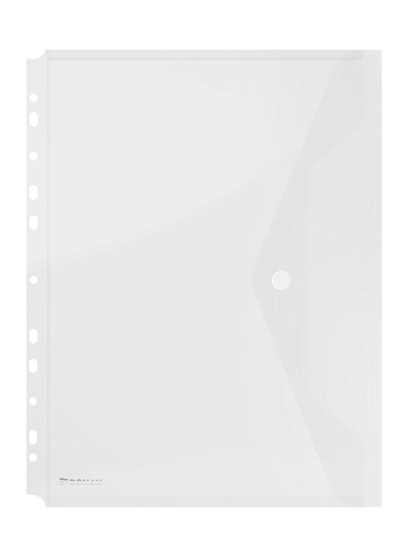 Folie protectie documente A4 portret, inchidere cu capsa, 4/set, 200 microni, DONAU - transparent