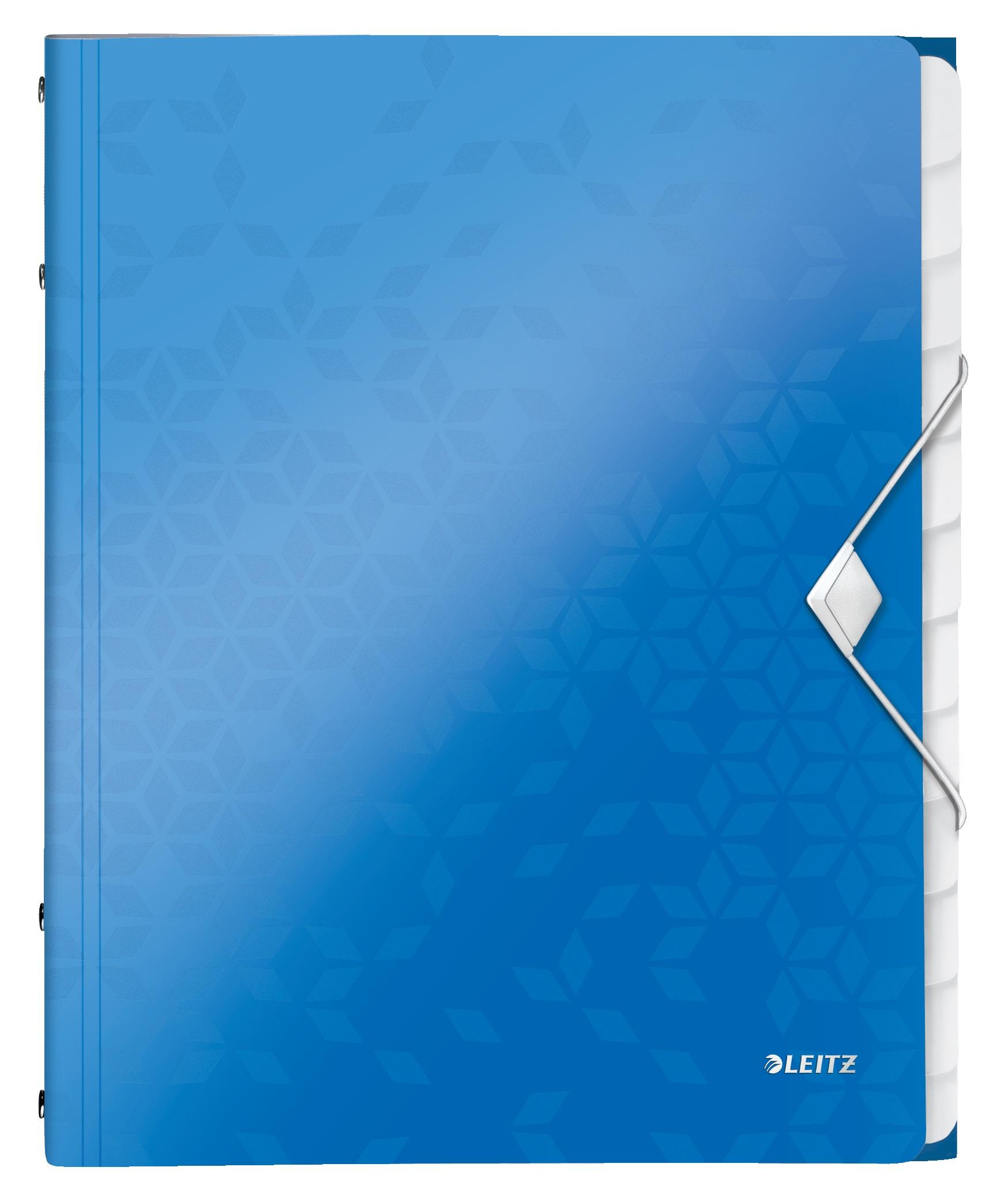 Mapa LEITZ Wow cu 12 separatoare, PP - albastru metalizat