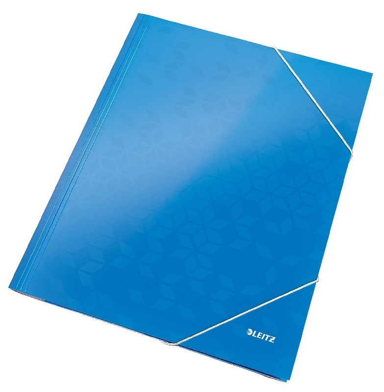 Mapa LEITZ Wow, carton cu elastic - albastru metalizat