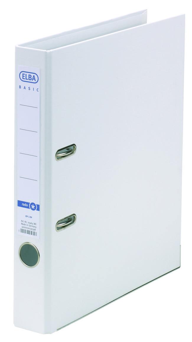 Biblioraft A4, plastifiat PP/PP, margine metalica, 50 mm, ELBA Smart Pro+ - alb
