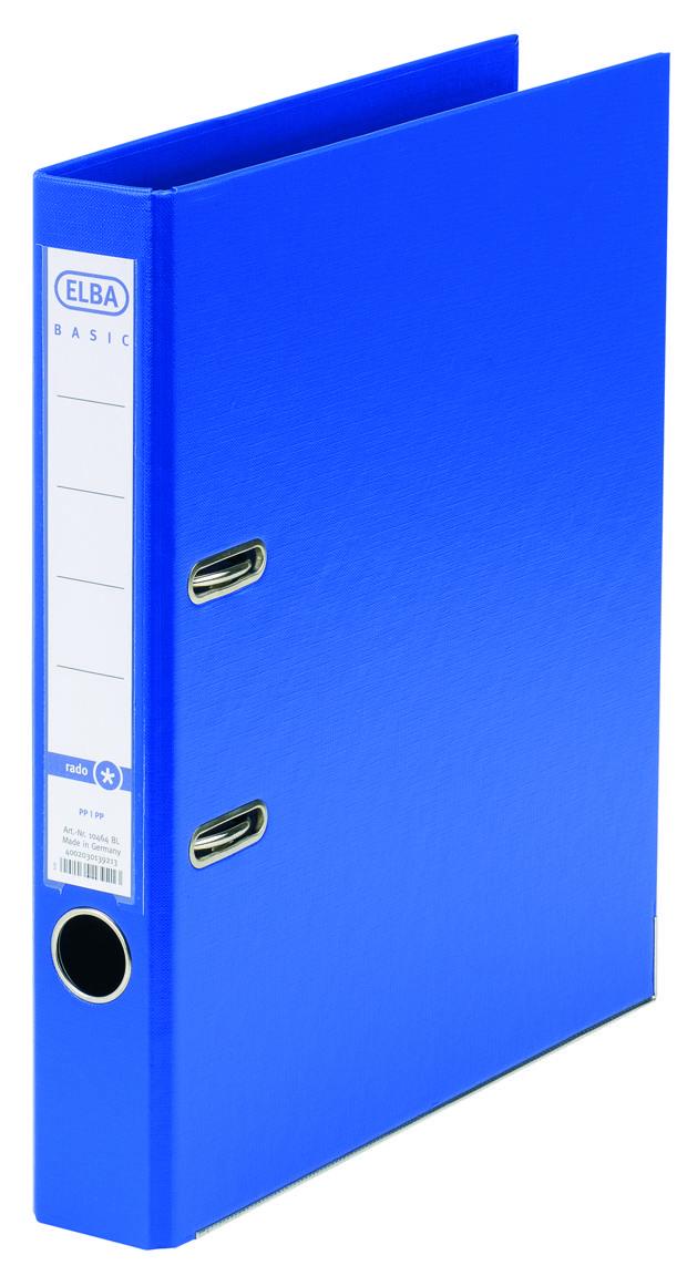 Biblioraft A4, plastifiat PP/PP, margine metalica, 50 mm, ELBA Smart Pro+ - albastru