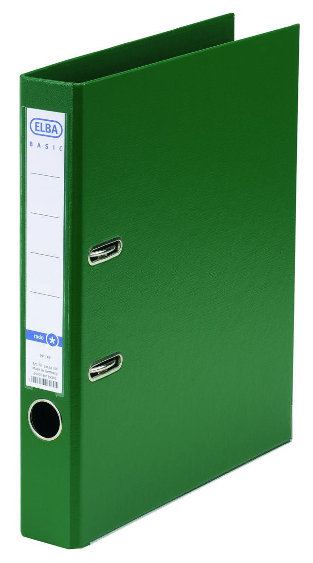 Biblioraft A4, plastifiat PP/PP, margine metalica, 50 mm, ELBA Smat Pro+ - verde