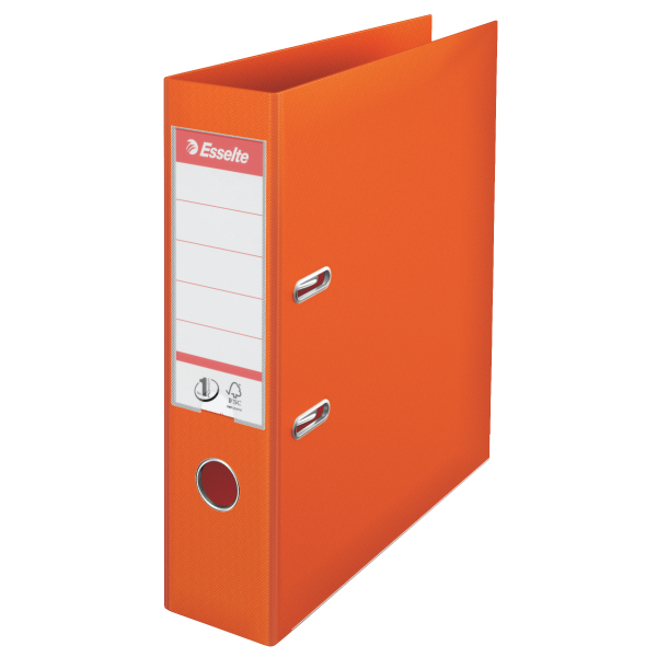 Biblioraft ESSELTE No. 1 Power, A4, plastifiat PP/PP, margine metalica, 75 mm - portocaliu