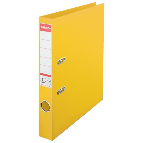 Biblioraft ESSELTE No. 1 Power, A4, plastifiat PP/PP, margine metalica, 50 mm - galben