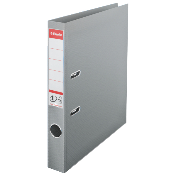Biblioraft ESSELTE No. 1 Power, A4, plastifiat PP/PP, margine metalica, 50 mm - gri