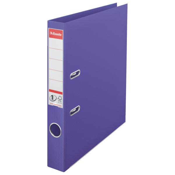 Biblioraft ESSELTE No. 1 Power, A4, plastifiat PP/PP, margine metalica, 50 mm - mov