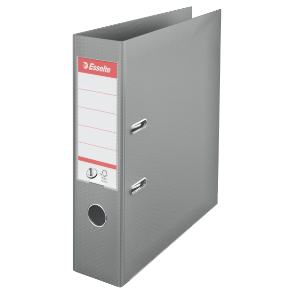 Biblioraft ESSELTE No. 1 Power, A4, plastifiat PP/PP, margine metalica, 75 mm - gri