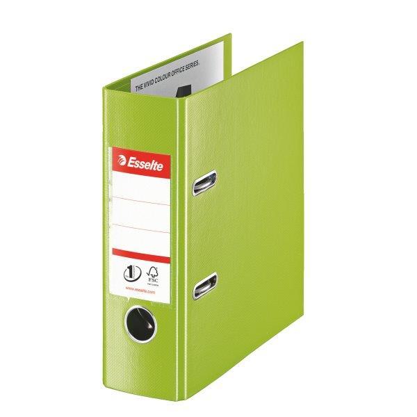 Biblioraft ESSELTE No. 1 Power, A5, plastifiat PP/PP, margine metalica, 75 mm - Vivida verde