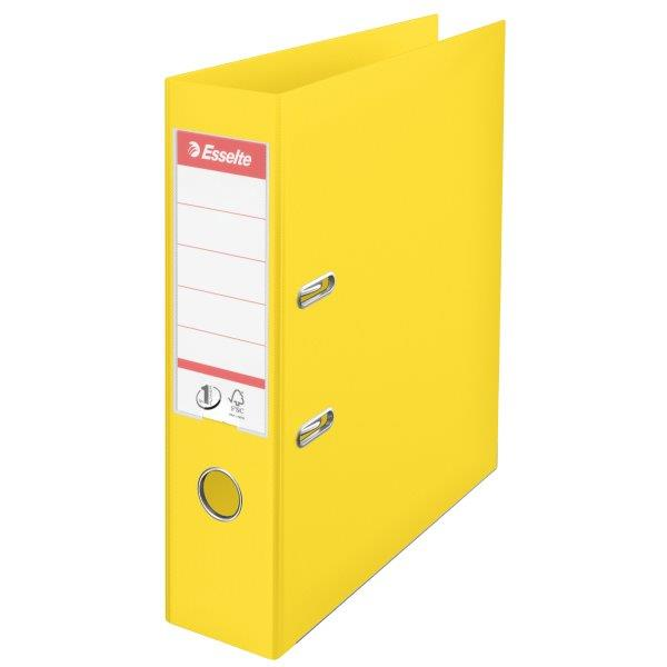 Biblioraft ESSELTE No. 1 Power, A4, plastifiat PP/PP, margine metalica, 75 mm - Vivida galben