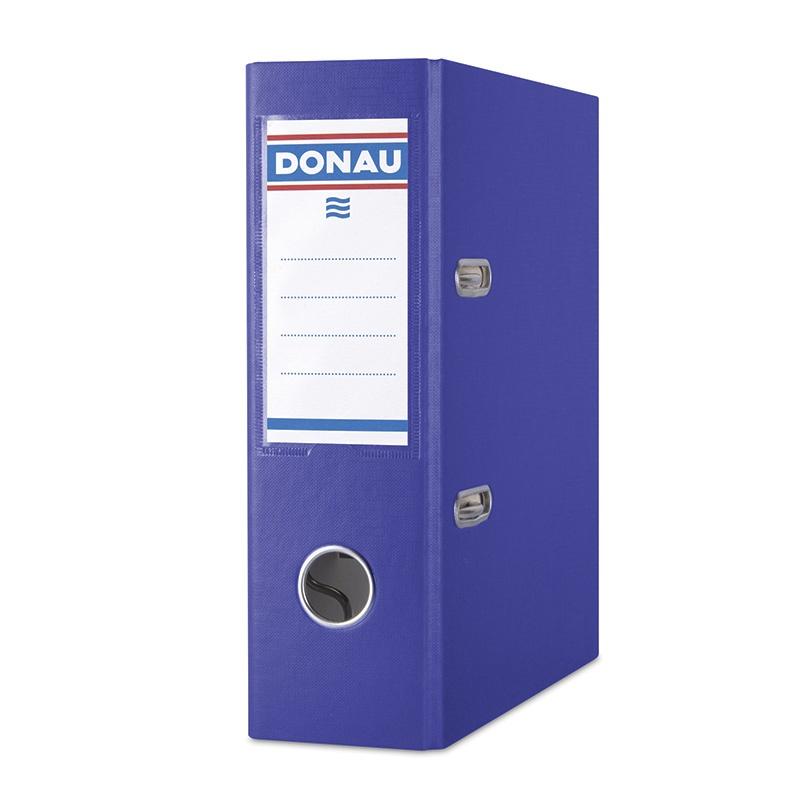Biblioraft A5, plastifiat PP, margine metalica, 75 mm, DONAU - albastru inchis
