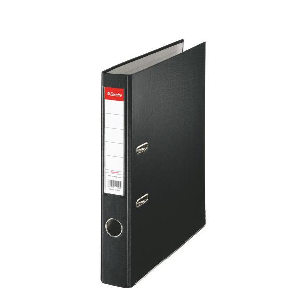 Biblioraft ESSELTE Economy, A4, plastifiat PP, margine metalica, 50 mm - negru