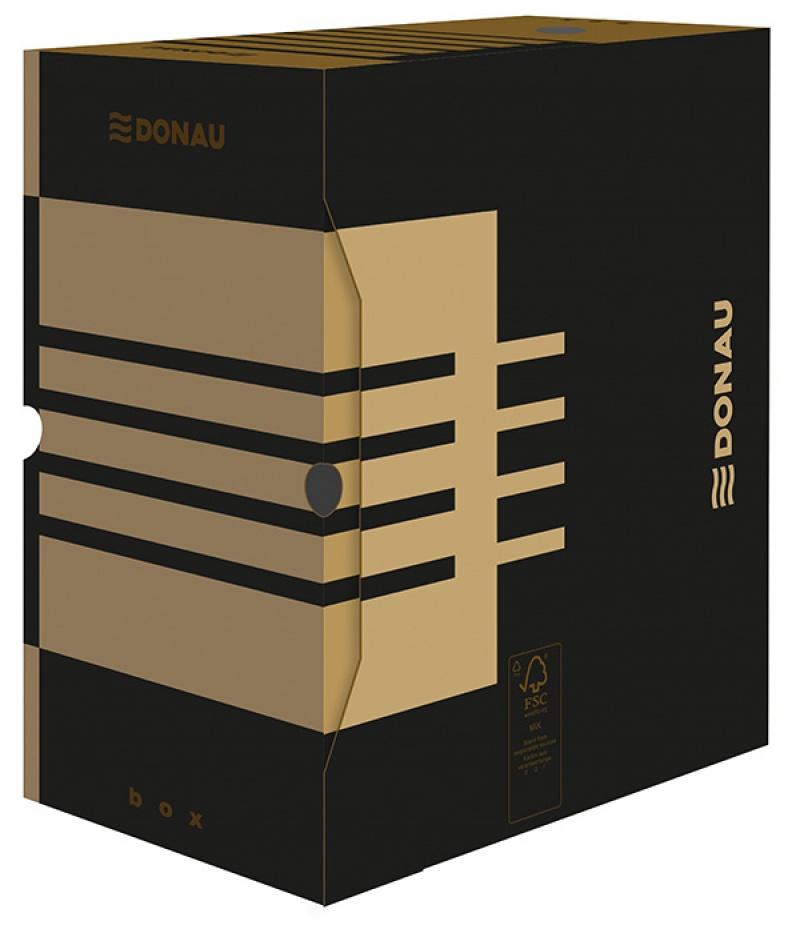 Cutie arhivare 155mm, carton 390gsm, DONAU - negru/kraft