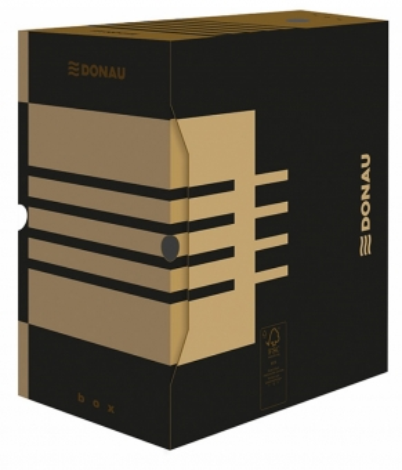 Cutie arhivare 200mm, carton 390gsm, DONAU - negru/kraft