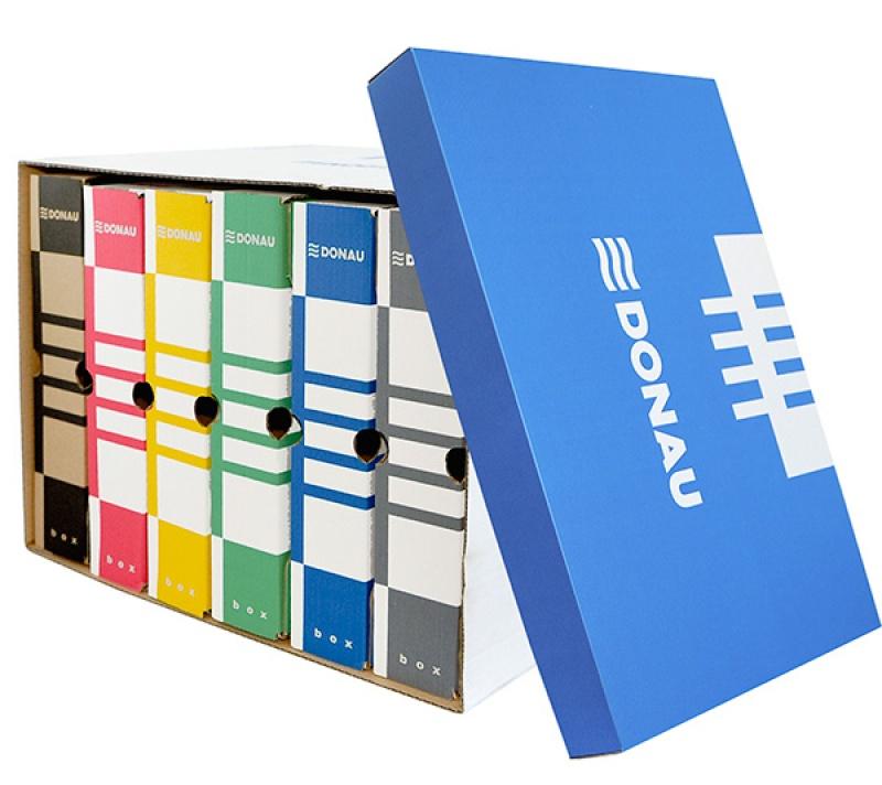 Container de arhivare cu capac detasabil, carton 490gsm, DONAU - albastru/alb