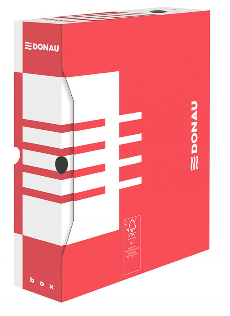 Cutie arhivare  80mm, DONAU - rosu