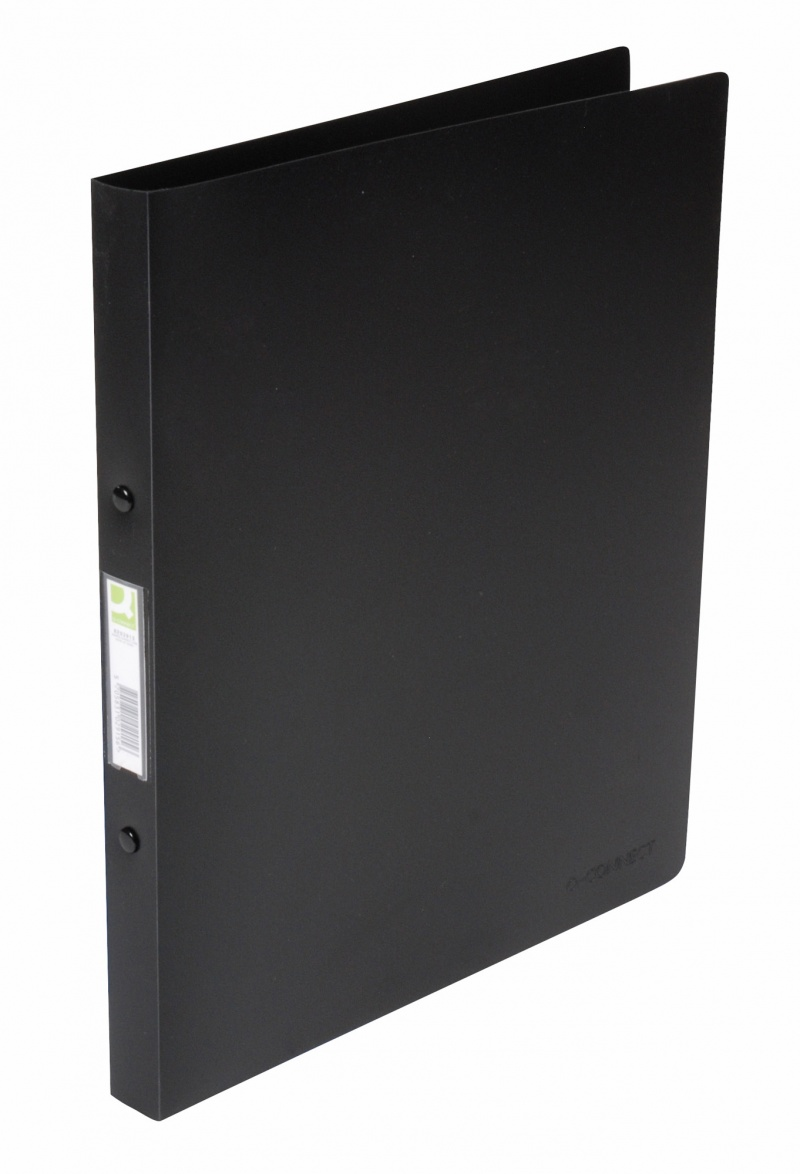 Caiet mecanic 4 inele - D16mm, coperti flexibile PP, Q-Connect - negru transparent