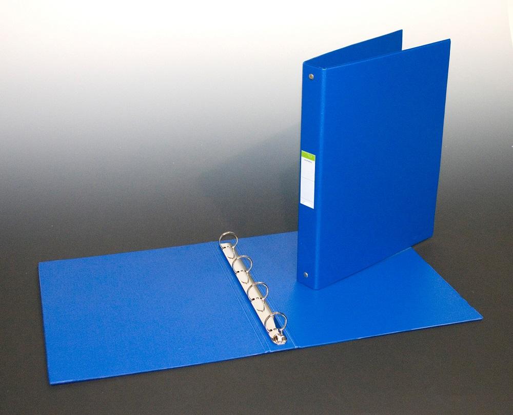 Caiet mecanic 4 inele - D25mm, coperti carton plastifiat PVC, A4, AURORA - albastru