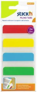 Stick index plastic transp. cu margine color 38 x 51 mm, 4 x 20 file/set, Stickn - 4 culori neon