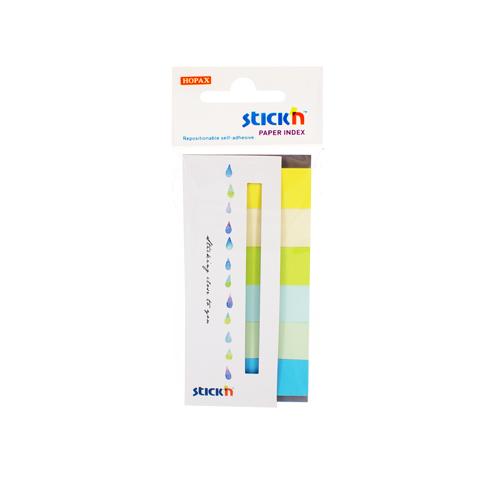 Stick index hartie color 45 x 15 mm, 6 x 30 file/set, Stickn - 6 culori neon si pastel