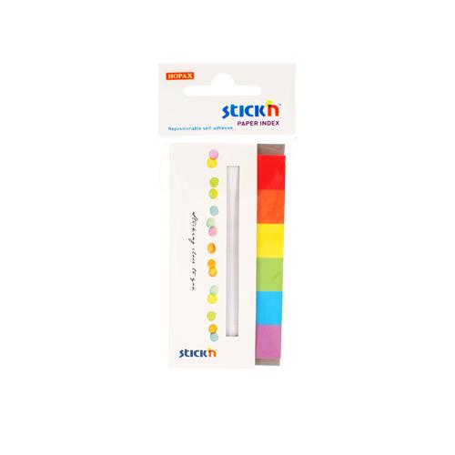 Stick index hartie color 45 x 15 mm, 6 x 30 file/set, Stickn - 6 culori alb/neon