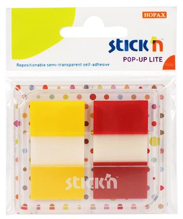 Film index autoadeziv 45 x 25mm, 2 x 20 file, cu dispenser, Stickn Pop-up Lite - 2 culori trans/neo