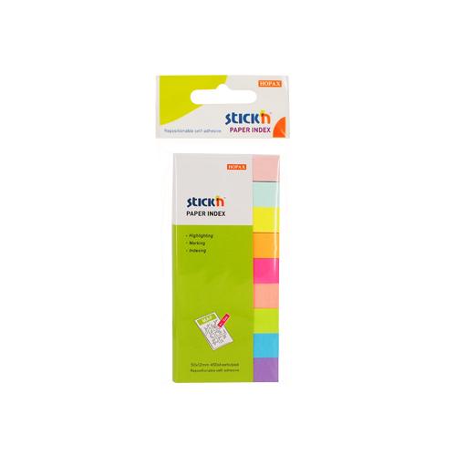 Stick index hartie color 50 x 12 mm, 9 x 50 file/set, Stickn - 9 culori neon