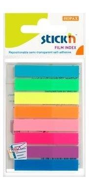 Stick index plastic transparent color 45 x 8 mm, 8 x 20 file/set, Stickn - 8 culori neon