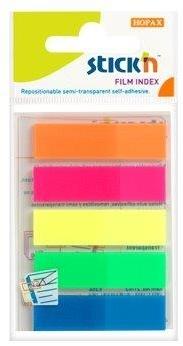 Stick index plastic transparent color 45 x 12 mm, 5 x 25 file/set, Stickn - 5 culori neon