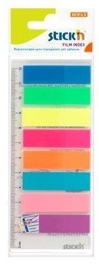 Stick index plastic transp. color 45 x 12 mm, 8 x 25 file/set + rigla, Stickn - 8 culori neon