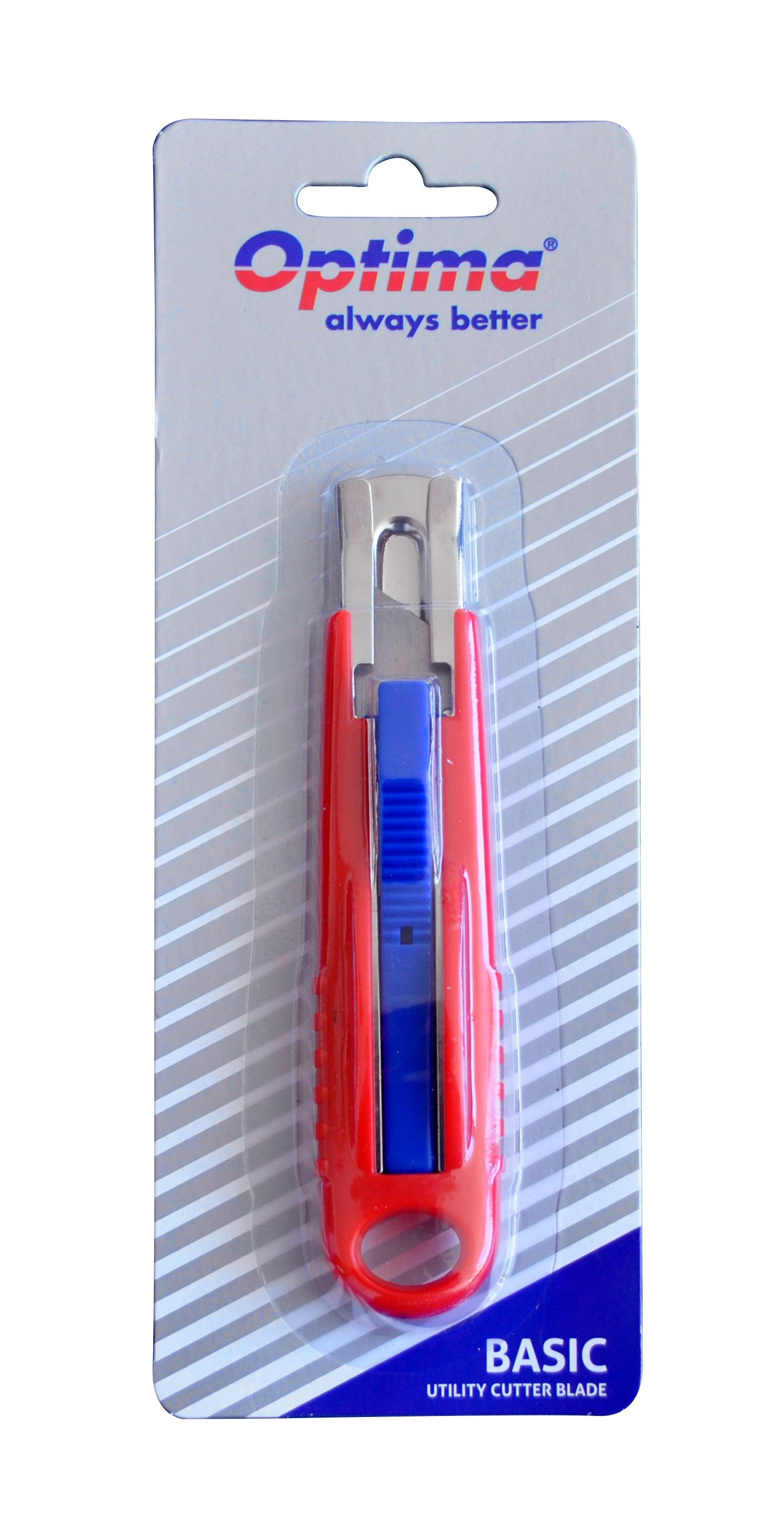 Cutter basic Optima, lama trapezoidala SK5, auto-retractabil, sina metalica, ABS