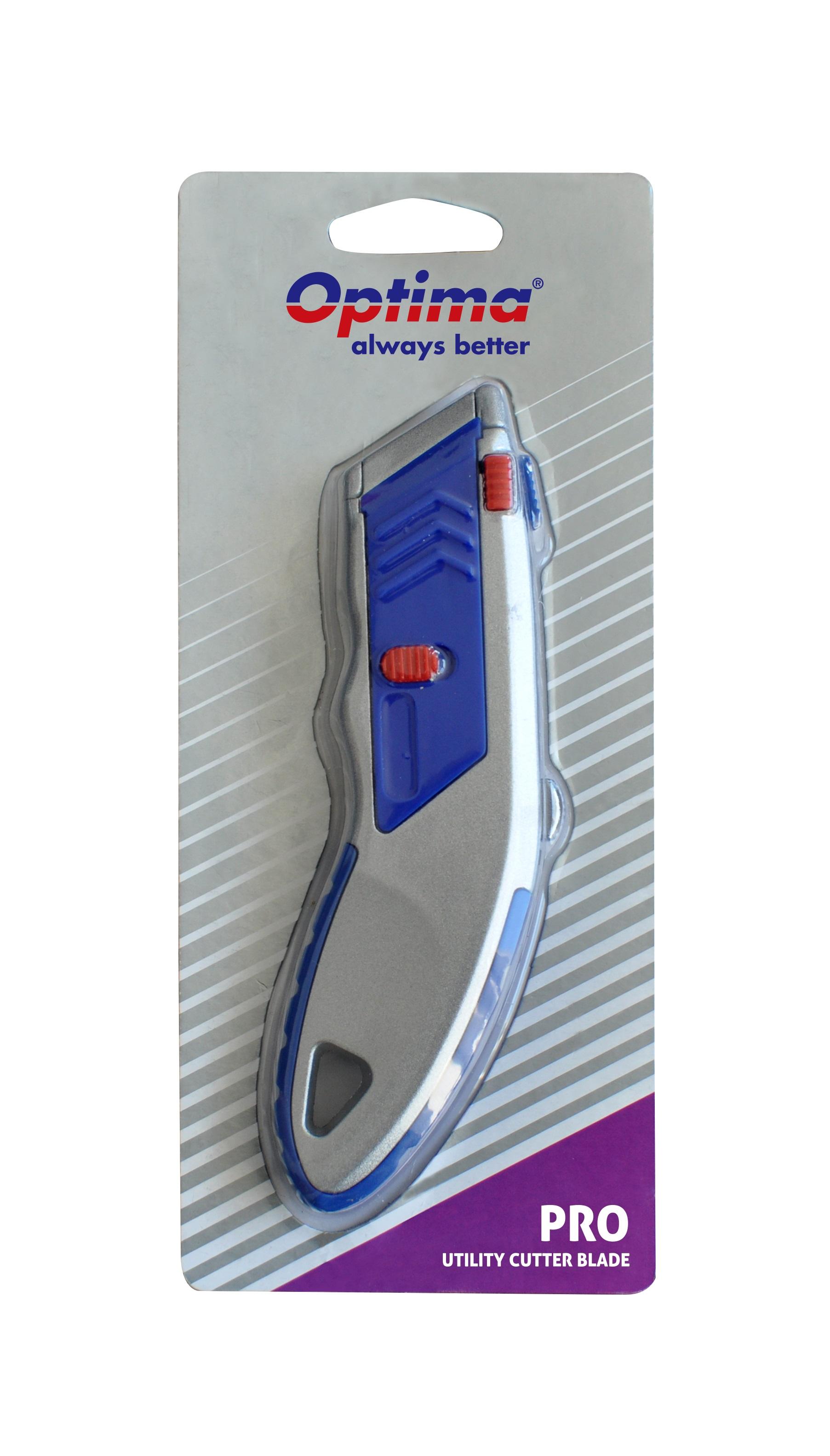 Cutter profesional Optima, lama trapezoidala + 5 rezerve SK5, cu auto-incarcare, zinc cu rubber grip