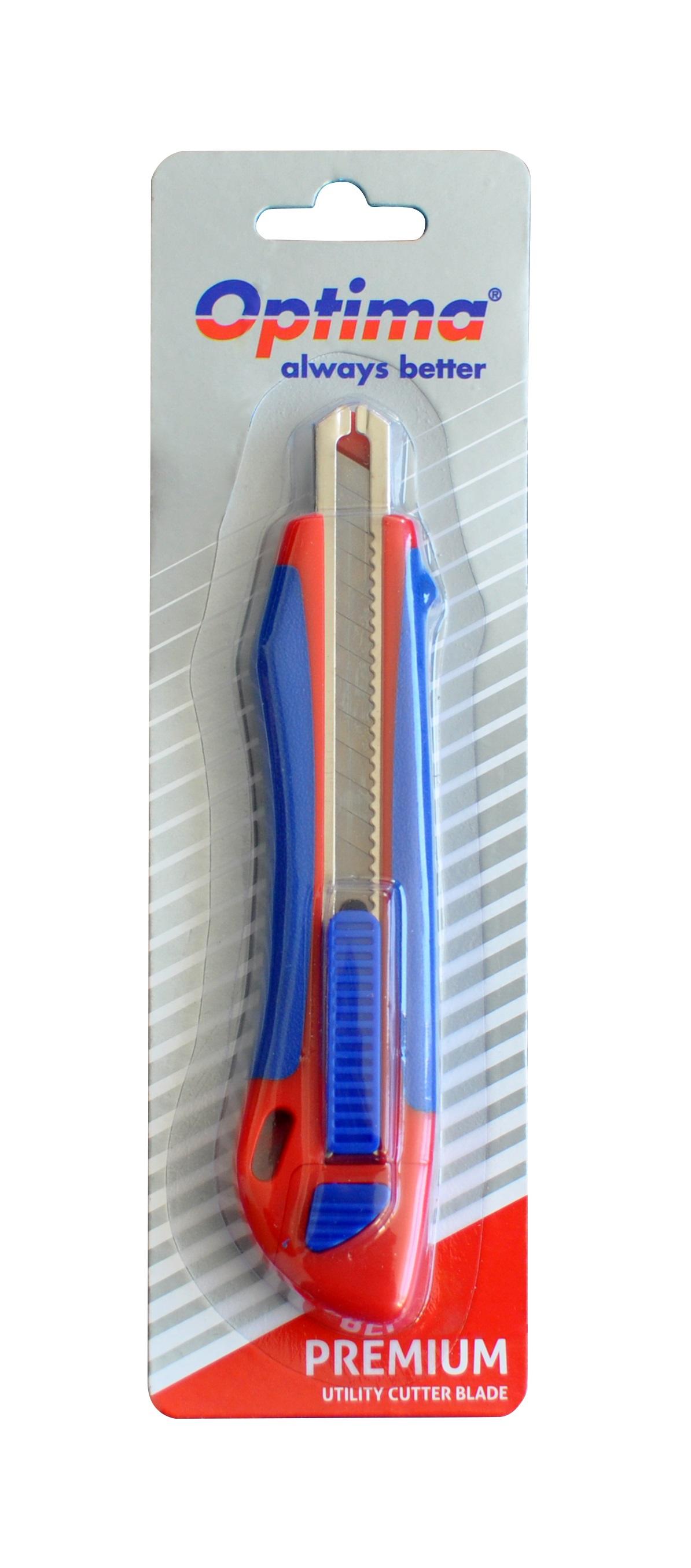 Cutter premium Optima, lama  9mm + 2 rezerve SK5, auto-incarcare, sina metalica, ABS cu rubber grip