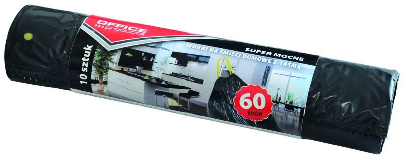 Saci menaj super rezistenti negri  60L, cu manere, 10buc/rola, Office Products