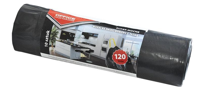 Saci menaj super rezistenti negri 120L,cu manere, 10buc/rola, Office Products