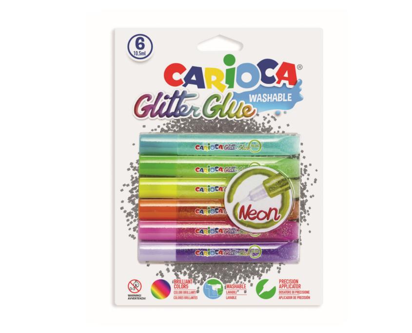 Lipici Glitter 6 culori/blister, CARIOCA Fluo
