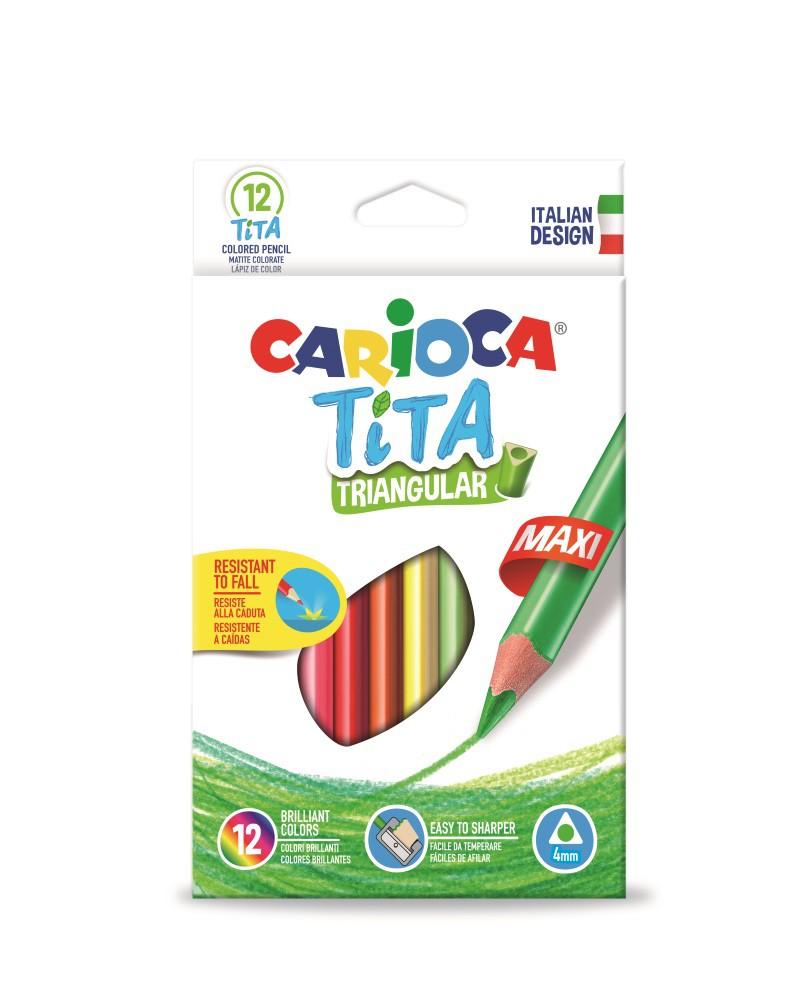 Creioane colorate, hexagonale, 12 culori/cutie, CARIOCA Tita Maxi