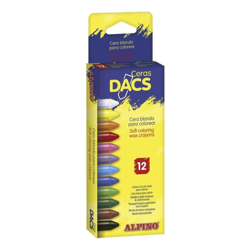 Creioane cerate soft, cutie carton, 12 culori/cutie, ALPINO Dacs