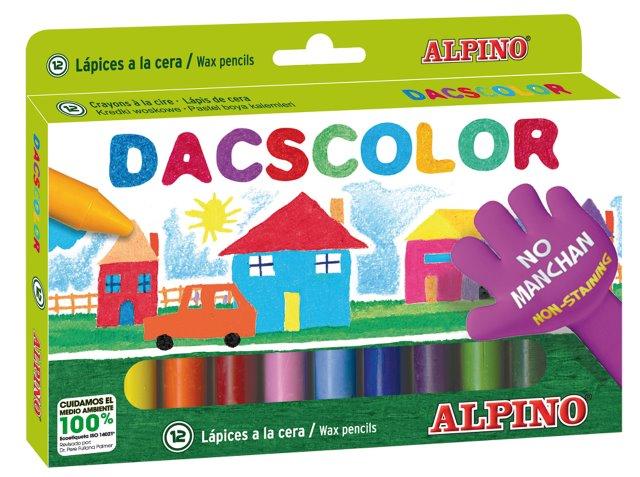 Creioane cerate semi-soft, cutie carton, 12 culori/cutie, ALPINO DacsColor