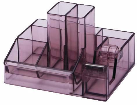 Suport plastic pentru accesorii de birou, 8 compartimente, 148 x 87mm, KEJEA - fumuriu
