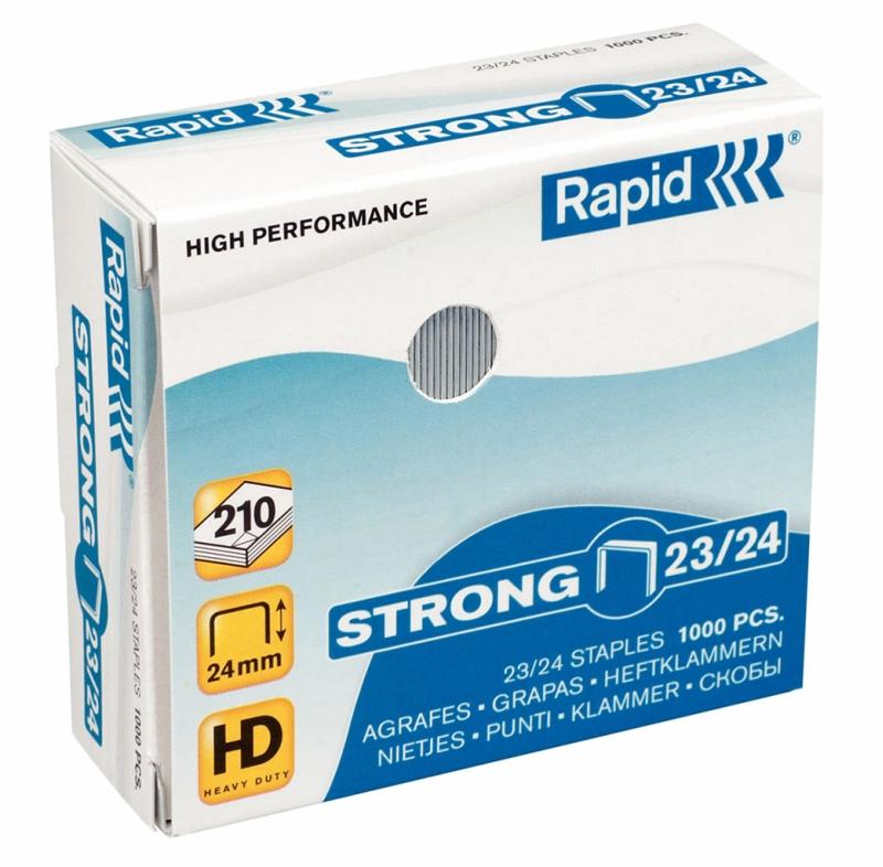 Capse RAPID Strong 23/24, 1000 buc/cutie - pentru 15-210 coli