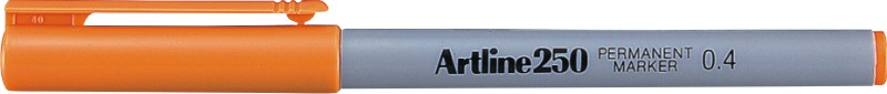 Permanent marker ARTLINE 250, corp plastic, varf rotund 0.4mm - portocaliu