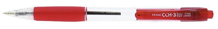 Pix PENAC CCH-3, cu mecanism, rubber grip, 0.7mm, corp transparent - scriere rosie