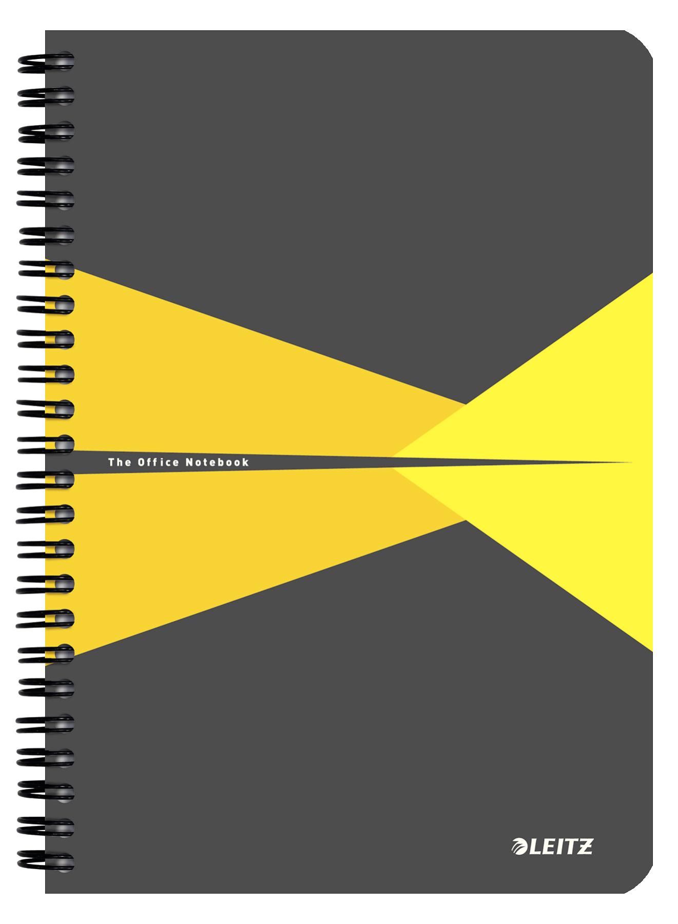 Caiet de birou LEITZ Office, carton, A5, cu spira, matematica - galben